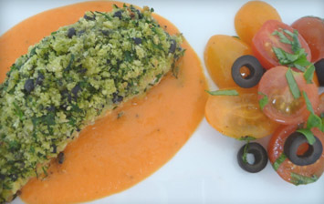 Herb Crusted Salmon & Tomato Salad