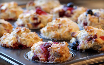 Blueberry and Raspberry Breakfast Muffins