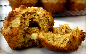 Banana White Chocolate and Coconut Muffins