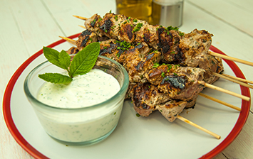 Coriander and Mint Yoghurt Lamb Skewers