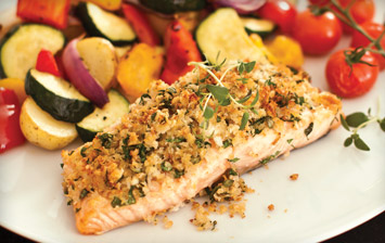 Salmon with Herb Crust & Roasted Veg