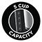 5 csészényi kapacitás