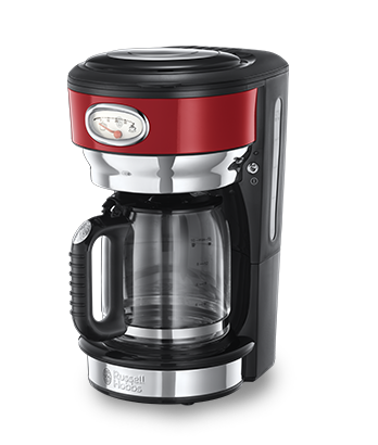 Russell Hobbs MT Retro Ribbon Red Coffee Maker with Glass Carafe 21700-56