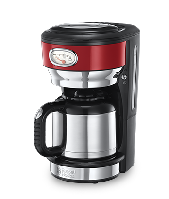 Russell Hobbs MT Retro Ribbon Red Coffee Maker with Thermal Carafe 21710-56