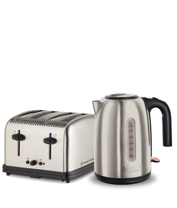 Russell Hobbs AU York Breakfast Pack 4 Slice Toaster & Kettle - Brushed RHBP2
