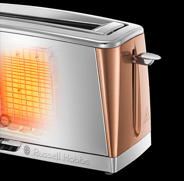 Russell Hobbs EU Luna Copper Accents 2 Slice Long Slot Toaster 24310-56