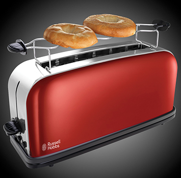 Russell Hobbs EU Colours Plus Flame Red 2 Slice Long Slot Toaster 21391-56