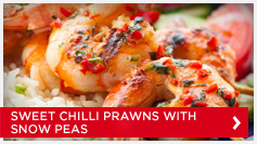 Sweet Chilli Prawns with Snow Peas